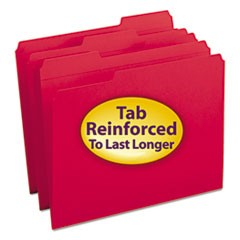 Smead Reinforced Top Tab Colored File Folders, 1/3-Cut Tabs, Letter Size, Red, 100/Box