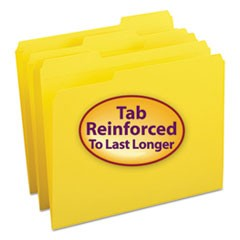 Smead Reinforced Top Tab Colored File Folders, 1/3-Cut Tabs, Letter Size, Yellow, 100/Box