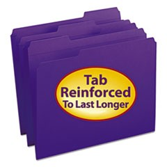 Smead Reinforced Top Tab Colored File Folders, 1/3-Cut Tabs, Letter Size, Purple, 100/Box