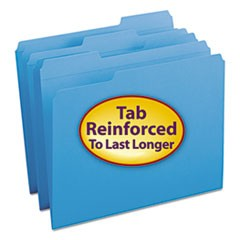 Smead Reinforced Top Tab Colored File Folders, 1/3-Cut Tabs, Letter Size, Blue, 100/Box