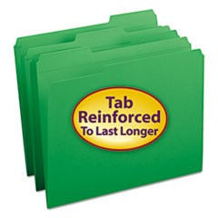 Smead Reinforced Top Tab Colored File Folders, 1/3-Cut Tabs, Letter Size, Green, 100/Box