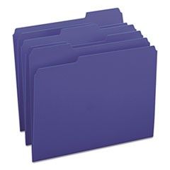 Colored File Folders, 1/3-Cut Tabs, Letter Size, Navy Blue, 100/Box