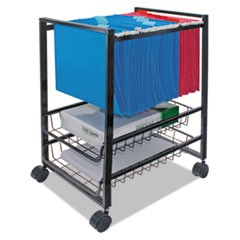 Mobile File Cart w/Sliding Baskets, 12.88w x 15d x 21.13h, Black