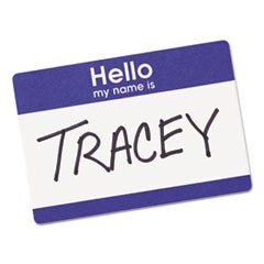 "Printable Self-Adhesive Name Badges, 2-11/32 x 3-3/8, Blue ""Hello"", 100/Pack"