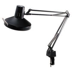 "Three-Way Incandescent/Fluorescent Clamp-On Lamp, 40"" Reach, Black"