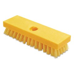 "Deck Brush, Polypropylene Palmyra Fibers, 9"" Plastic Block, Yellow"