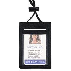 ID Badge Holder w/Convention Neck Pouch, Vertical, 2 1/4 x 3 1/2, Black, 12/Pack