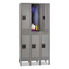 Double Tier Locker with Legs, Triple Stack, 36w x 18d x 78h, Medium Gray