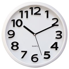 Round Wall Clock, White, 13""