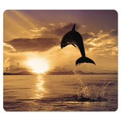 Recycled Mouse Pad, Nonskid Base, 7 1/2 x 9, Dolphin