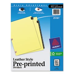 Preprinted Black Leather Tab Dividers w/Copper Reinforced Holes, 12-Tab, Letter