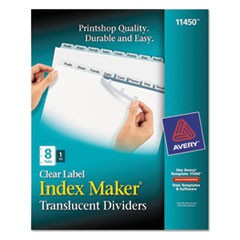 Print and Apply Index Maker Clear Label Plastic Dividers, 8-Tab, Letter