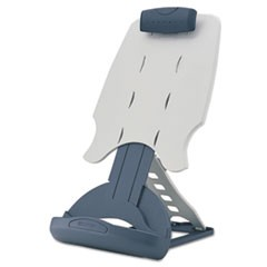 InSight Adjustable Desktop Copyholder, Plastic, Holds 50 Sheets, Gray/Dark Blue