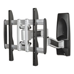 HG Articulating Flat Panel Wall Mounts, 19w x 22d x 17 3/4h, Silver/Black
