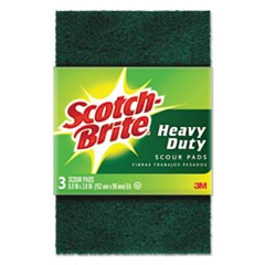 "Heavy-Duty Scour Pad, 3 4/5"" x 6"", Green, 3/Pack"