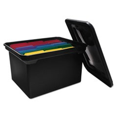 "File Tote with Lid, Letter/Legal Files, 14.13"" x 18"" x 10.75"", Black"