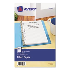 Mini Size Binder Filler Paper, 7-Hole, 5 1/2 x 8 1/2, Narrow Rule, 100/Pack