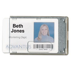 Rigid Two-Badge Blocking Smart Card Holder, 3 3/8 x 2 1/8, Clear, 20 per Pack