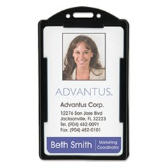 Vertical ID Card Holders, 2 1/8 x 3 3/8, Black, 25 per Pack