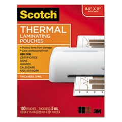 "Letter Size Thermal Laminating Pouches, 5 mil, 9"" x 11 1/2"", 100/Pack"
