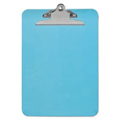 "Plastic Clipboard w/High Capacity Clip, 1"", Holds 8 1/2 x 12, Translucent Blue"