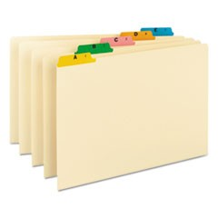 Alphabetic Top Tab Indexed File Guide Set, 1/5-Cut Top Tab, A to Z, 8.5 x 14, Manila, 25/Set