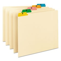 Alphabetic Top Tab Indexed File Guide Set, 1/5-Cut Top Tab, A to Z, 8.5 x 11, Manila, 25/Set