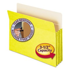 "Colored File Pockets, 3.5"" Expansion, Letter Size, Yellow"