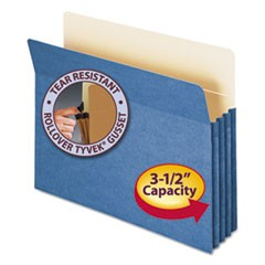 "Colored File Pockets, 3.5"" Expansion, Letter Size, Blue"