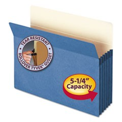 "Colored File Pockets, 5.25"" Expansion, Letter Size, Blue"
