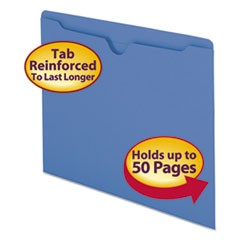 Colored File Jackets with Reinforced Double-Ply Tab, Straight Tab, Letter Size, Blue, 100/Box