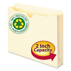 100% Recycled Top Tab File Jackets, Straight Tab, Letter Size, Manila, 50/Box