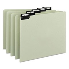 Alphabetic Top Tab Indexed File Guide Set, 1/5-Cut Top Tab, A to Z, 8.5 x 11, Green, 25/Set