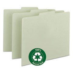 Recycled Blank Top Tab File Guides, 1/3-Cut Top Tab, Blank, 8.5 x 11, Green, 100/Box
