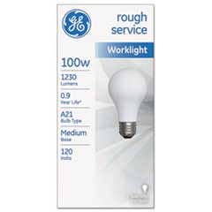 Rough Service Incandescent Worklight Bulb, A21, 100 W, 1,220 lm