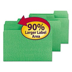 SuperTab Colored File Folders, 1/3-Cut Tabs, Letter Size, 11 pt. Stock, Green, 100/Box