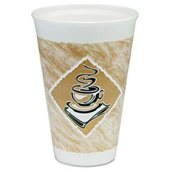 Caf� G Hot/Cold Cups, Foam, 16 oz, White/Brown with Green Accents, 25/Pack