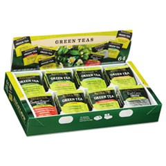 Green Tea Assortment, Tea Bags, 64/Box, 6 Boxes/Carton