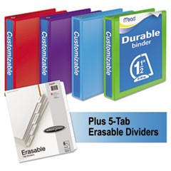 "Durable D-Ring View Binder Plus Pack, 1 1/2"" Cap, Assorted Colors, 4/Carton"