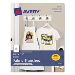 Light Fabric Transfers for Inkjet Printers, 8 1/2 x 11, White, 18/Pack