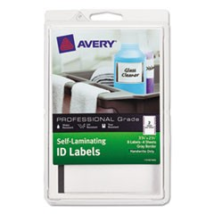 Self-Laminating ID Labels, 4 x 6 Sheet, 2 3/4 x 3 3/4, White/Gray, 8/PK