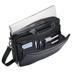 Leather Slim Brief, 15 3/4 x 2 1/2 x 11 3/4, Black