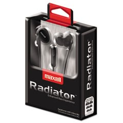 RAD-1 Radiator Enhanced Bass Earphones with In-line Mic, Black/Red