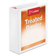 "Treated Binder ClearVue Locking Slant-D Ring Binder, 3"" Cap, 11 x 8 1/2, White"