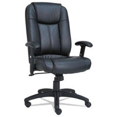 Alera CC Series Executive High-Back Swivel/Tilt Leather Chair, Supports up to 275 lbs., Black Seat/Black Back, Black Base