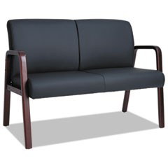 Reception Lounge Series Wood Loveseat, 44 7/8 x 26 x 33 1/4, Black/Mahogany