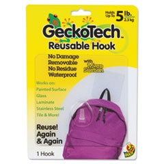 GeckoTech Reusable Hooks, Plastic, 5 lb Capacity, Clear, 1 Hook