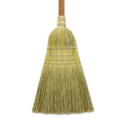 "Corn/Fiber Warehouse Brooms, 60"", Gray/Natural, 6/Carton"