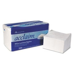 Acclaim Luncheon Napkins, 1-Ply, 12.5 x 11.5, White, 500/pack