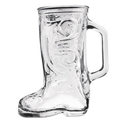 Boot Beer Mug, Glass, 12 1/3 oz, Western Boot, Clear, 24/Carton